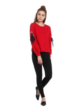 Red Eyelet Detail Sweatshirt