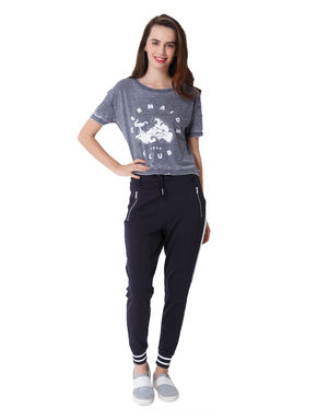 Grey Mermaid Print Crop T-Shirt
