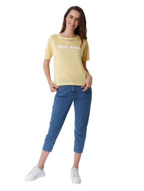 Yellow Text Print Knit T-Shirt