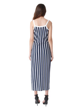 Blue Striped Strappy Side Split Maxi