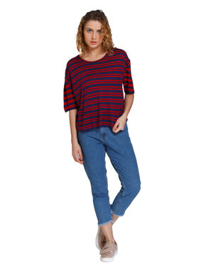 Dark Blue and Red Striped Loose Fit T-Shirt