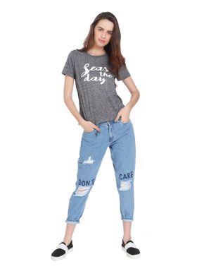 Grey Text Print T-Shirt