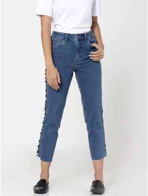 Blue Tape Detail High Waist Straight Fit Ankle Length Jeans