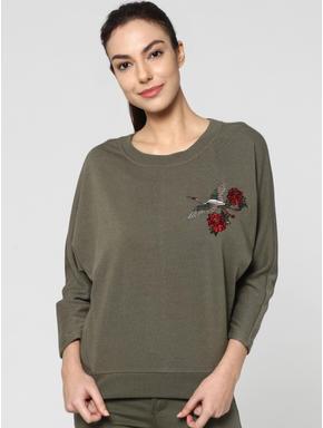 Green Embroidered Long Sleeves Sweatshirt