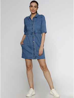 Blue Short Sleeves Denim Fit & Flare Dress
