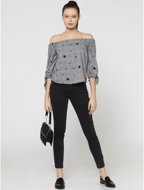 White Star Print Off Shoulder Check Top