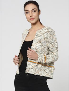 Yellow Textured Knit Short Cardigan
