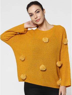 Yellow Long Sleeves Flat Knit Pullover