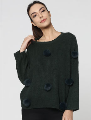 Green Long Sleeves Flat Knit Pullover