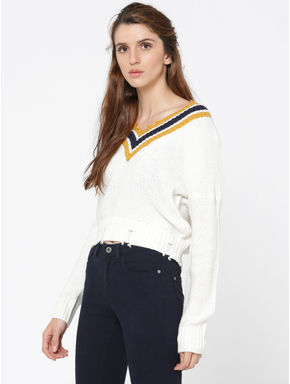 White Striped V-Neck Frayed Pullover