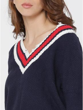 Dark Blue Striped V-Neck Frayed Pullover