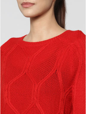 Red Self Design Balloon Sleeves Pullover