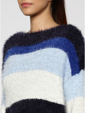 Blue Colour Blocked Striped Pullover