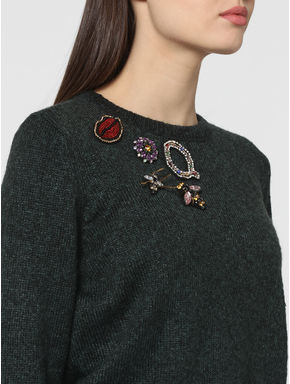 Dark Green Embellished Pullover