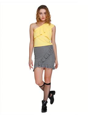 Lemon Yellow One Shoulder Layered Top