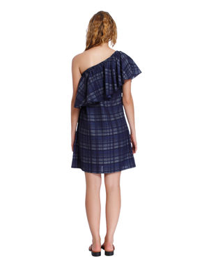 Blue One Shoulder Check Shift Dress