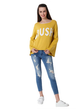 Yellow Text Print Bell Sleeves Pullover