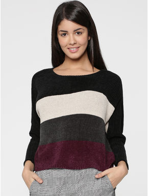 Black Striped Flat Knit Pullover