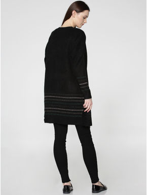 Black Front Open Long Cardigan