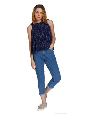 Blue All Over Print Tie Back Top