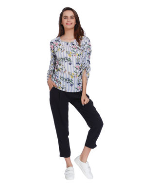 White Striped Floral Print Ruched Sleeves Top