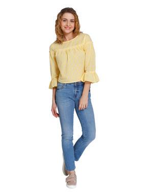 Lemon Yellow Check Top