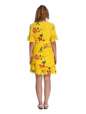 Yellow Floral Print Mini Dress