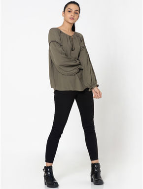 Olive Green Self Design Shirt
