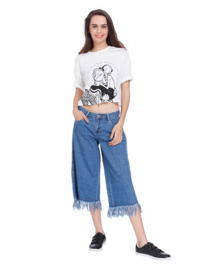 Blue Frayed Hem Denim Culottes