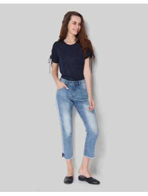 Blue Mid Waist Comfort Fit Ankle Length Denim