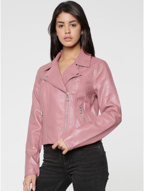 Pink Faux Leather Biker Jacket