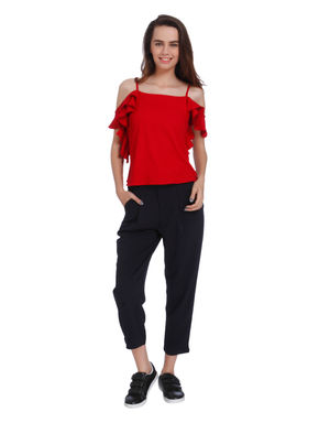 Red Cold Shoulder Frill Sleeves Top