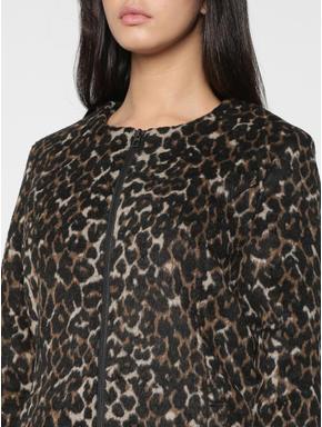 Black Leopard Print Long Jacket