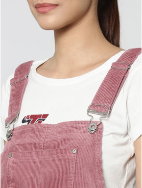 Pink Cord Sleeveless Short Dungaree