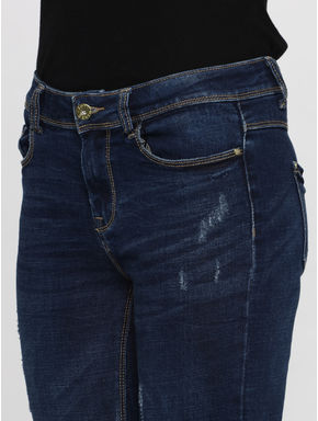 Blue Mid Rise Mildly Distressed Ankle Length Skinny Fit Jeans