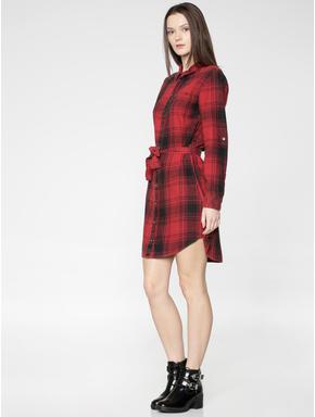 Red Checks Waist Tie Up Shirt Dress