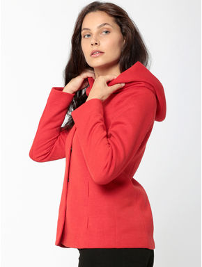 Red Hooded Short Jacket