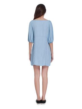 Blue Lace Up Off Shoulder Mini Dress