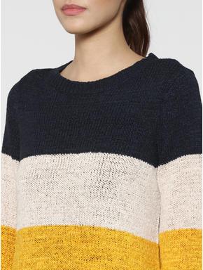 Dark Blue Colour Blocked Pullover