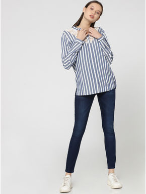 White Striped Lace Insert Shirt