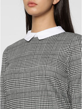 White Prince Of Wales Check Contrast Collared Sheath Dress