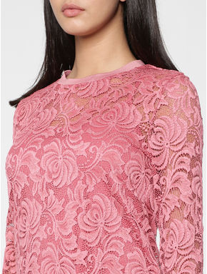 Rose Lace Circular Knit Fit & Flare Dress