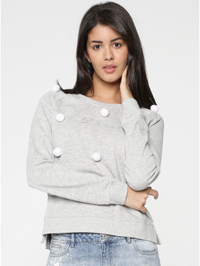 Grey Pom Pom Detail Sweatshirt