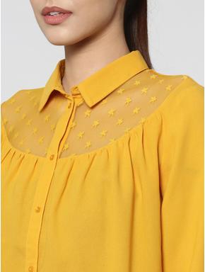 Yellow Star Mesh Insert Shirt