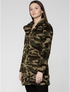 Brown All Over Camouflage Print Coat