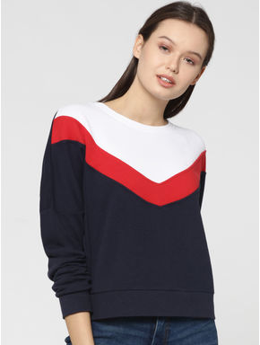 Dark Blue Colourblocked Batwing Sweatshirt