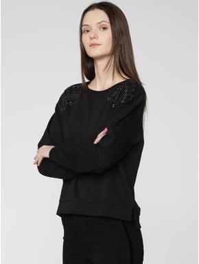 Black Embroidered Sweatshirt