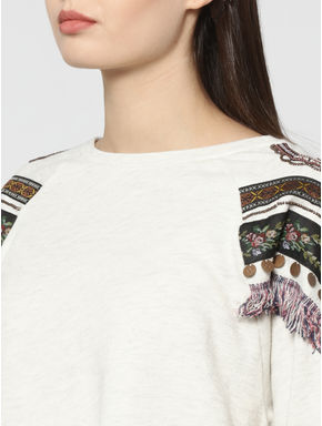 Off White Shoulder Embellished Sweatshirt
