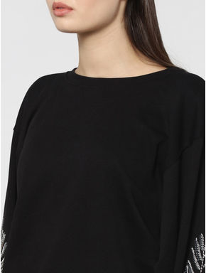 Black Sequinned Balloon Sleeves Sweatshirt
