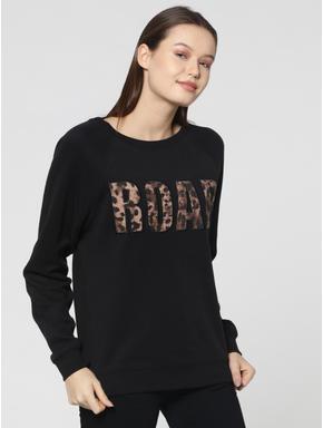 Black with Leopard Text Print Sweatshirt